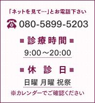 診療時間 9:00~20:00|休診日 日曜 月曜 祝祭